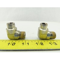 "3/8"" NPT To 3/8"" Tube Push To Connect 90° Elbow Stainless Steel Fitting Lot of 2"