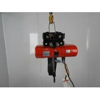 "CM Model B 1/4Ton Electric Chain Hoist 14'4"" Lift 16FPM 3Ph W/Trolley"