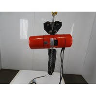 "CM Model L 1 Ton Electric Chain Hoist 14'4"" Lift 16FPM 3Ph W/Push Trolley"