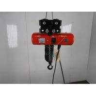 "CM Lodestar Model B 1/4Ton Electric Chain Hoist 14'4"" Lift 16FPM 3Ph W/Trolley"
