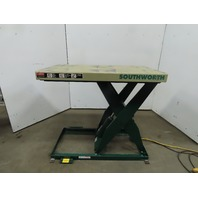 """Southworth LS2-36 2000Lb Hydraulic Scissor Lift Table 48x28"""" Top 7-43""""H 115V 1Ph"""