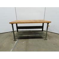 """Pollard Vintage Butcher Block Work Bench Table Kitchen Island 60""""x30""""x34"""" T"""