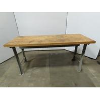 "Vintage Butcher Block Work Bench Table Kitchen Island 72""x28""x34""T"