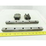 NSK LS25 25mm Tall Linear Bearing Guide Rail 300mm Lot of 2 Bearings & 2 Rails