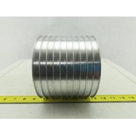 "6-1/4"" OD x 10 Groove Flat Belt Idler Pulley Aluminum 1-1/8"" Bore"