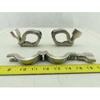 "Tri-Clover 1-1/2"" Heavy 2 Pin Split Hinge Sanitary Clamp Stainless Steel Lot/3"