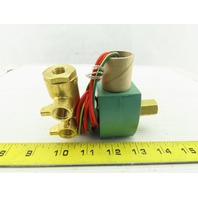 "Asco 8345G001 Red Hat 1/4"" Brass Solenoid Valve 4 Way 2 Position 120V Coil"