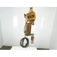 Harrington Peerless Y4-3A6 1Ton Electric Chain Hoist 15' Lift 13.8FPM 230/480V