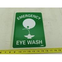 "NMC TV2 Emergency Eye Wash 10"" Long x 8"" Wide Rigid Plastic Safety Sign 2 Sides"