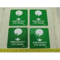 "NMC S50R Emergency Eye Wash 7"" Long x 7"" Wide Rigid Plastic Safety Sign Lot of 4"