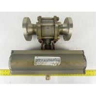"""Airmax Mecair 5CSR 3"""" Flange 150# Sanitary Ball Valve Pneumatic Actuator"""