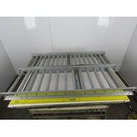 """54""""x18"""" Gravity Roller Conveyor 16"""" BF x 35mm Diameter Roller Lot of 2"""