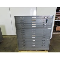 Mayline 15 Drawer Steel Blueprint Plans Map Art Architect Flat Filing Cabinet