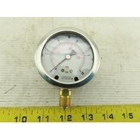 NoShok 25-901-10BAR-BSPP 1/4 Brass Bottom Fit Oil Filled Pressure Gauge 0-120PSI