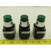 Allen Bradley 800T-PT16 Ser. T Green Illuminated Push Button 120V Lot of 3