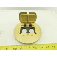 """Carlon E97BR2 Floor Electrical Box Cover 2 Door Brass 5"""""""