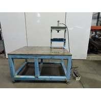 "Steel Welding Work Bench Fabrication Table 61x41x33""H W/Hydraulic H-Frame Press"