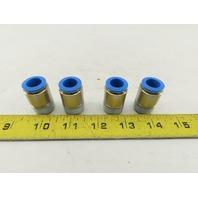 "Festo QS-1/2-12-I Push-in Connector 1 Port R 1/2"" Thread 12mm OD Tube Lot of 4"