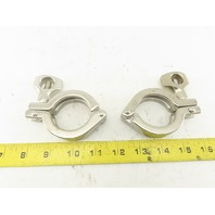 "Single Pin Heavy Duty Sanitary Clamp Stainless Steel 1"" -1-1/2"" OD Lot of 2"