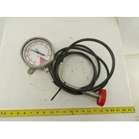"Anderson 37-00 30 PSI/VAC Stainless Steel Sanitary Pressure Gauge 120"" Probe"