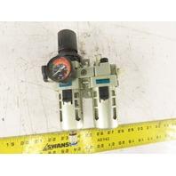 "OMTEC FRL 1-RL  / FRL 1-F Pneumatic Filter Regulator Lubricator 1/4"" NPT"