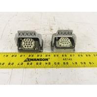 Harting HAN 10EE-F 10 Pin Female Plug Base Housing Lever Lock 16A 500V Lot Of 2