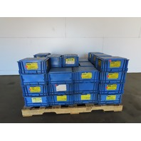 """Buckhorn Blue Straight Wall Plastic Tote Stackable Container 12x15x8"""" Lot of 49"""