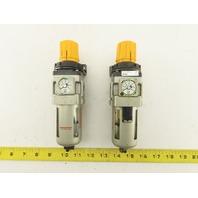 "SMC AW30-DUK01711 Pneumatic Filter Regulator 0-60PSi 1/4"" NPT AS is Lot of 2"