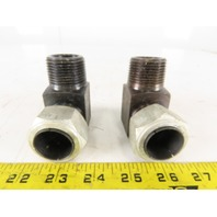 "LDI BA2000-16 1"" Tube x 1"" Male NPT  90° Elbow Adapter Union Self-Flare Lot of 2"