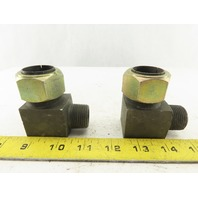 "BA2000-16-12 1"" Tube x 3/4"" Male NPT  90° Elbow Adapter Union Self-Flare Lot/2"