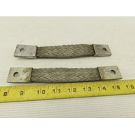 """1"""" Braided Tinned Copper Grounding Strip Strap 7-1/2"""" OAL Lot Of 2"""