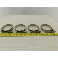 "Clampco 94100-0300 T-Bolt Stainless Steel Band/Hose Clamp 3.5"" OD Lot of 4"