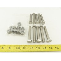 """1/2-13"""" Stainless Steel Full Thread Hex Bolt 3"""" With Nuts Lot Of 20 Pcs."""