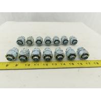 "1/2"" Liquid Tite x 1/2"" Rigid EMT Conduit Straight Connector Lot Of 14"
