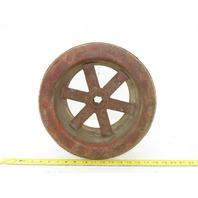 """Vintage Primitive 6-1/2""""Wide  13-1/4"""" Diameter Paper Fiber Flat Belt Pulley"""