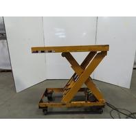 "Bishamon Scissor Lift Table 48""x24"" 115V Single Phase 16"" to 50"" Hight W/Casters"