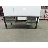"1"" Thick Top Steel Fabrication Welding Table Work Bench 96""x48""x34"" W/Drawers"