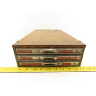 "Victor Vintage 3 Drawer Flat File storage Card Catalog For 8"" x 5"" Cards"