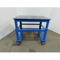 "1/2"" Top Steel Machine Base Welding/Work Table 37-1/4x24-3/4x34-3/4"" W/Casters"