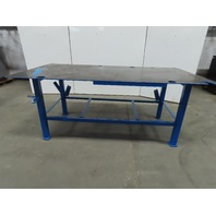 "Steel Welding Work Bench Assembly Layout Table 96""x 48""x 39"" High 1/2"" Thick Top"