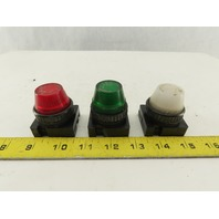Control Concepts FLVU 120V 3W Red Green White Indicator Pilot Light Lot Of 3