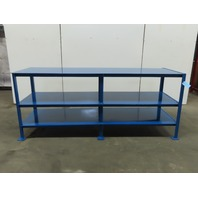 """96"""" x 30"""" 2 Shelf Steel Work Assembly Storage Fabrication Bench Table 40"""" Tall"""