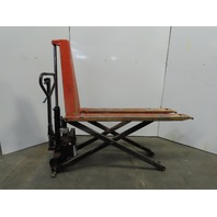 "Lift-Rite 2200 Lb 12VDC Electric/Manual 60"" Forks 31"" lift Scissor Pallet Jack"