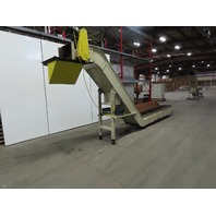 "8'9"" x 17"" Intake Steel Belt 45° Incline Chip Scrap Conveyor 17FPM 1Hp 90"" Tall"