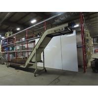 "176"" x 24"" Intake Steel Belt 45° Incline Chip Scrap Conveyor 26FPM 1Hp 109"" Tall"
