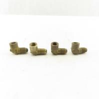 """7/16-20 (-4) Male x 1/8"""" NPFT Brass Elbow Lot Of 4"""