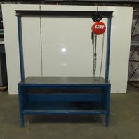 "CM 26 x 72"" Assembly Maintenance Work Bench W/ 1/4 Ton Chain Fall Hoist 36"" Lift"