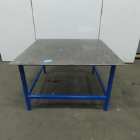 "60-1/2"" x 60-5/8"" Steel Top 3/8"" T Fabrication Assembly Welding Bench 36"" Tall"