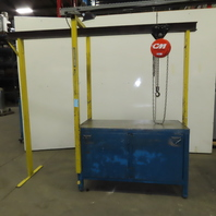 "26 x 60-1/4"" Metal Cabinet Assembly Maintenance Work Bench W/ 1/4 Ton CM Hoist"