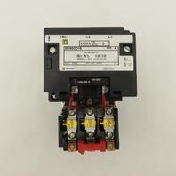 Square D 8536SDO1V01S 600V Non Reversing Contactor 3Ph NEMA 2 45A 24V Coil